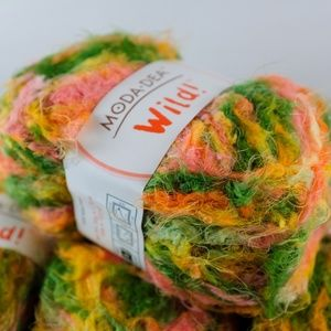 2 Skeins Moda Dea Wild! Knitting Weave Yarn Spring